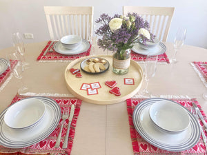 Croatian Red Hearts Placemats Table Runner Uppermoda