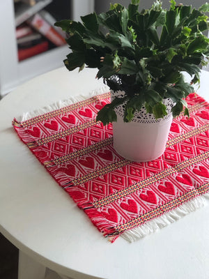 Croatian Small Square Table Runner - Red Hearts Table Runner Uppermoda