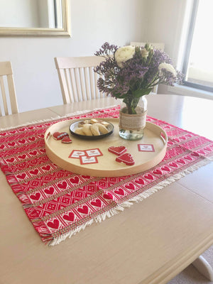 Croatian Square Table Runner 65cm x 65cm - Red Hearts Table Runner Uppermoda