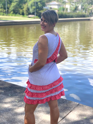 Croatian Striped Peek-a-Boo Back Dress - Šibenik Dress Uppermoda