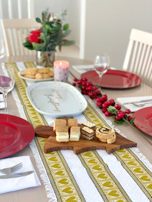 Croatian Table Runner 35cm x 140cm - Gold Hearts Skip a Beat Table Runner Uppermoda