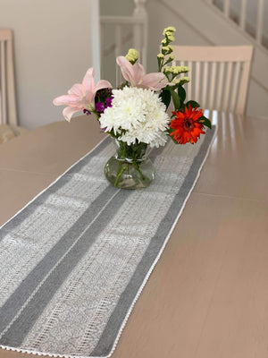 Croatian Table Runner 35cm x 140cm - Grey & White Diamonds with Pearl Edge Table Runner Uppermoda