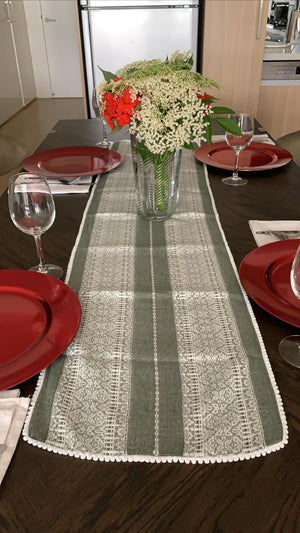 Croatian Table Runner 35cm x 140cm - Pale Green & White Diamonds with Pearl Edge Table Runner Uppermoda