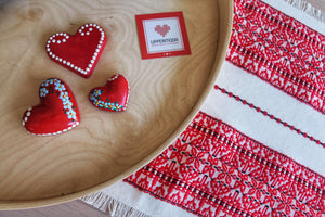 Croatian Table Runner 35cm x 140cm - Red Diamonds Table Runner Uppermoda
