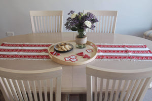 Croatian Table Runner 35cm x 140cm - Red Hearts Skip a Beat Table Runner Uppermoda