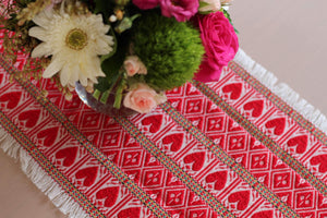 Croatian Table Runner 35cm x 140cm - Red Hearts Table Runner Uppermoda
