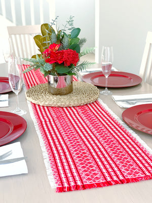 Croatian Table Runner 35cm x 140cm - Red Lika Table Runner Uppermoda