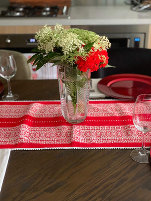 Croatian Table Runner 35cm x 140cm - Red & White Diamonds with Pearl Edge Table Runner Uppermoda