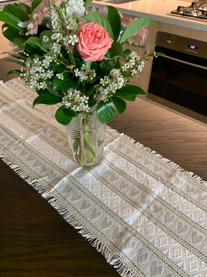 Croatian Table Runner 35cm x 140cm - Silver Hearts Table Runner Uppermoda