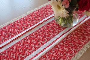 Croatian Table Runner 40.5cm x 140cm - Red Ragusa Table Runner Uppermoda