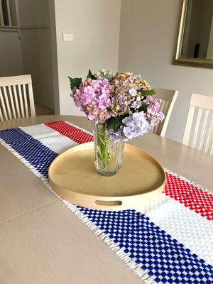 Croatian Table Runner 41cm x 140cm - Red, White and Blue Checkers Table Runner Uppermoda