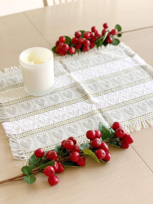Croatian Table Topper Runner - Silver Hearts Table Runner Uppermoda