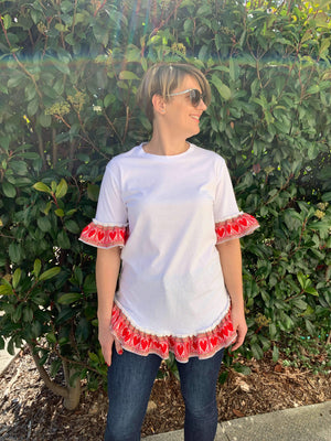 Croatian Women's White T-Shirt Tunic with Red Hearts Top Uppermoda