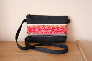 Crossbody Black Etno Bag - Red Diamonds bag Uppermoda