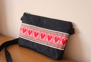 Crossbody Black Etno Bag - Red Hearts bag Uppermoda
