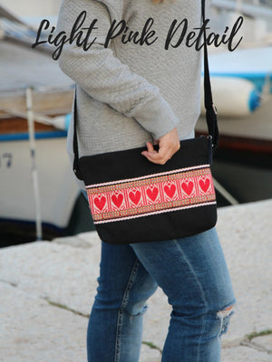 Crossbody Black Etno Bag - Red Hearts bag Uppermoda Light Pink Detail