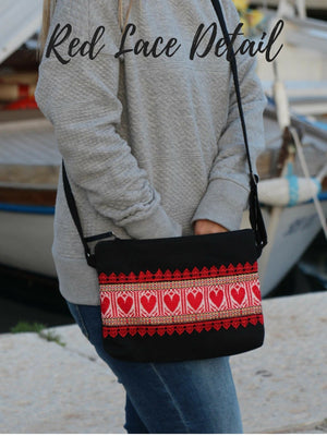 Crossbody Black Etno Bag - Red Hearts bag Uppermoda Red Lace Detail