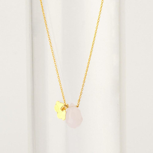 Gold Fine Necklace with Rose Quartz necklace Uppermoda