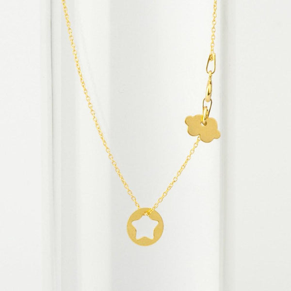 Gold Starfish and Clouds Fine Necklace necklace Uppermoda