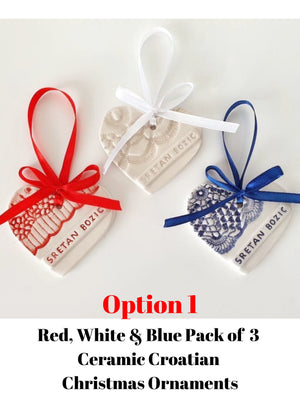 Handmade Croatian Ceramic Christmas Ornaments (PRE-ORDER) Christmas Ornaments Uppermoda Red White & Blue Pack of 3 (Option 1)