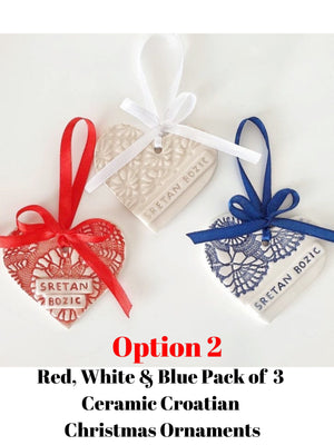 Handmade Croatian Ceramic Christmas Ornaments (PRE-ORDER) Christmas Ornaments Uppermoda Red White & Blue Pack of 3 (Option 2)