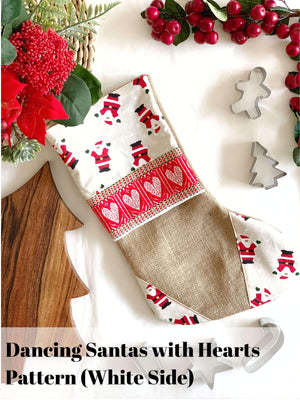 Handmade Croatian Christmas Stockings Christmas Stockings Uppermoda Dancing Santas (White-sided Hearts) (Pre-Order)