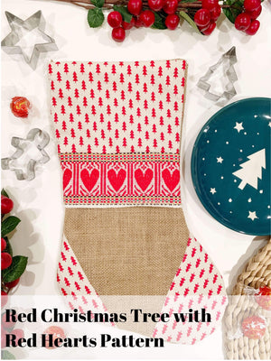 Handmade Croatian Christmas Stockings Christmas Stockings Uppermoda Red Christmas Trees Red Hearts
