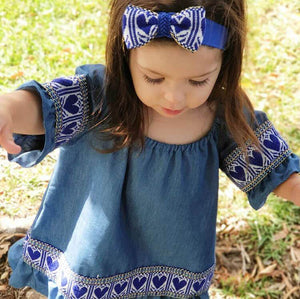 Kid's Croatian Blue Etno Dress with Blue Hearts - Gracie Dress Uppermoda