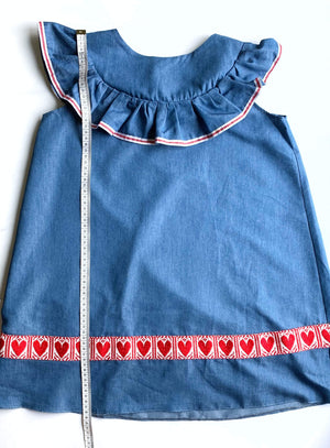 Kid's Croatian Blue Frills Dress - Ana (Only 1 Available) Dress Uppermoda