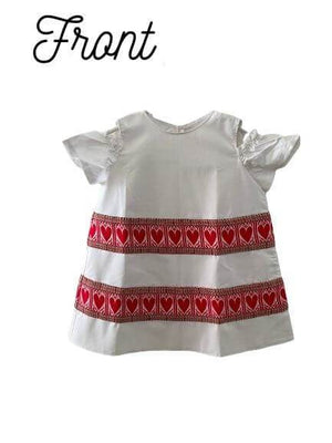 Kid's Croatian Cold-Shoulder White Dress with Red Hearts - Sara Dress Uppermoda