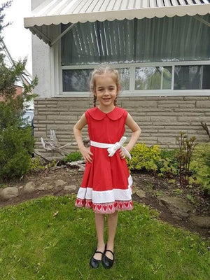 Kid's Croatian Red and White Hearts Dress - Tia Dress Uppermoda