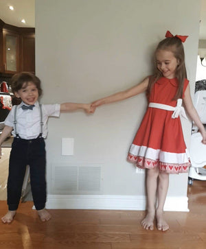 Kid's Croatian Red and White Hearts Dress - Tia (PRE-ORDER) Dress Uppermoda