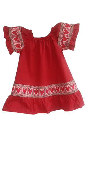 Kid's Croatian Red Etno Dress with Red Hearts - Gracie (PRE-ORDER) Dress Uppermoda