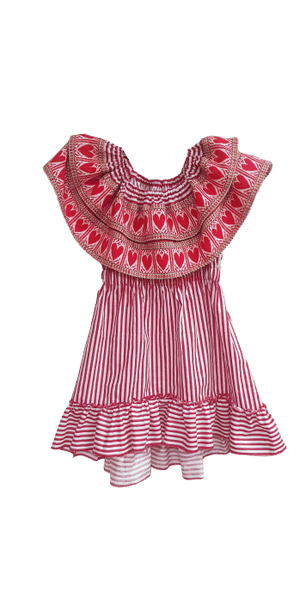 Kid's Croatian Red Striped Dress with Red Hearts - Stradun Dress Dress Uppermoda