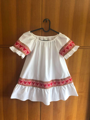 Kid's Croatian White Etno Dress with Red Hearts - Gracie Dress Uppermoda