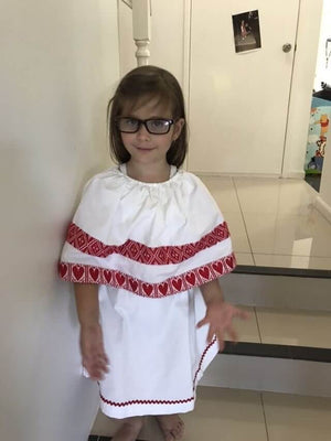 Kid's Croatian White with Hearts Dress - Marica Dress Uppermoda