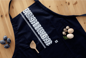 Kitchen Apron - Blue Etno Pattern Apron Uppermoda