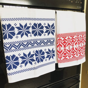 Kitchen Tea Towel Pack of 2 - Etno Pattern Tea Towel Uppermoda 1 x Red & 1 x Blue