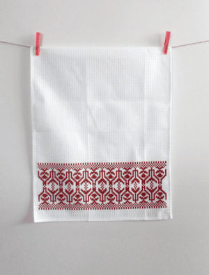 Kitchen Tea Towel Pack of 2 - Etno Pattern Tea Towel Uppermoda 2 x Red