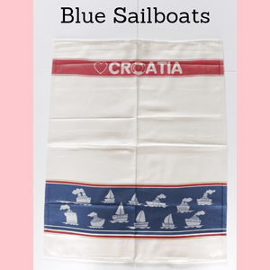 Kitchen Tea Towels Pack of 2 - Croatian Motifs Tea Towel Uppermoda 2 x Blue Sailboats