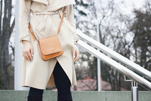 Leather Handbag | Monkey Bag Collection | Cognac handbag Uppermoda