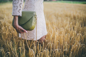 Leather Handbag | Tasnica Collection | Army Green handbag Uppermoda