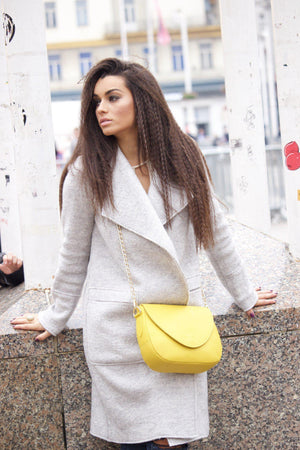 Leather Handbag | Tasnica Collection | Yellow handbag Uppermoda