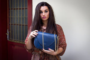 Leather Handbag | Tasnica Luxury Collection | Cracked Blue handbag Uppermoda