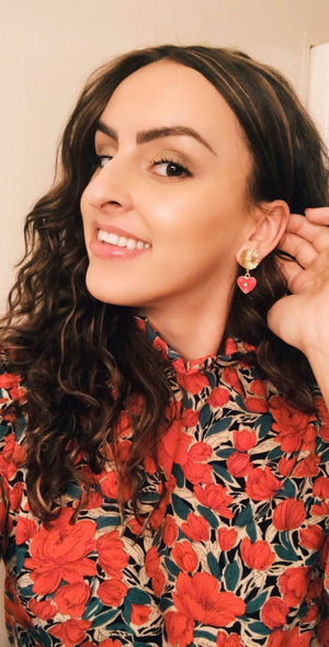 Licitarsko Srce Heart Earrings - Flower earrings Uppermoda