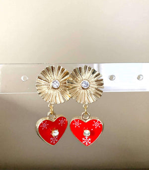 Licitarsko Srce Heart Earrings - Flower earrings Uppermoda Flower