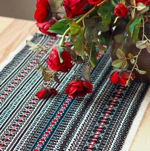 Long Croatian Table Runner 35cm x 280cm - Black Folklore Uppermoda