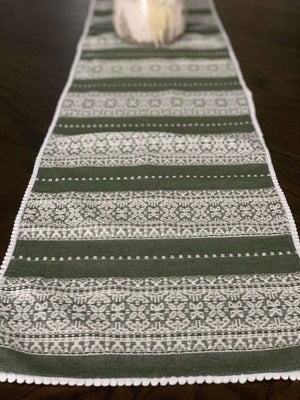 Long Croatian Table Runners - Multiple Sizes - Pale Green & White Diamonds with Pearl Edge Table Runner Uppermoda