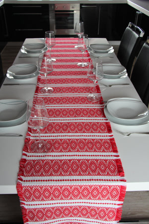 Long Croatian Table Runners - Multiple Sizes - Red Ragusa Table Runner Uppermoda