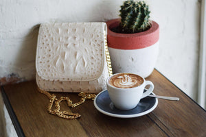 Luxury Ivory Croco Leather Handbag | Monkey Bag Collection handbag Uppermoda